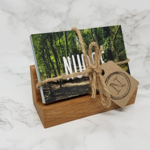 solid oak nudge card holder