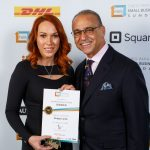 Photograph of myself with Theo Paphitis at the SBS awards with my award